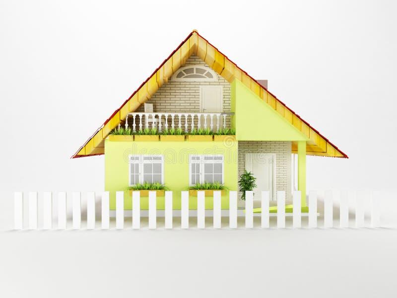 Ett trevligt hus på en vit bakgrund, royaltyfri illustrationer