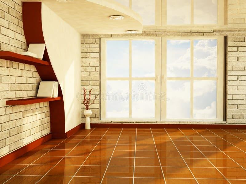 Ett trevligt rum med ett stort fönster stock illustrationer
