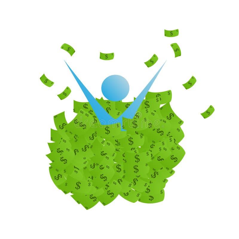 Ett underbart begrepp av framgången av en person som badar i pengar royaltyfri illustrationer