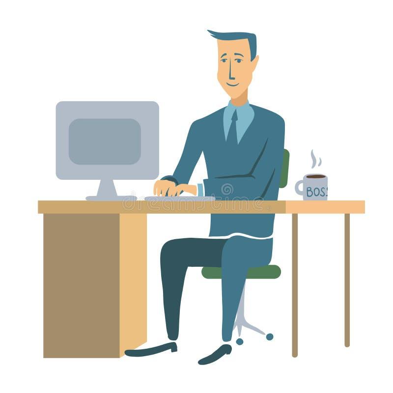 Ett ungt affärsman- eller för kontorsarbetare sammanträde på en tabell och arbete på en dator Manteckenillustration som isoleras royaltyfri illustrationer