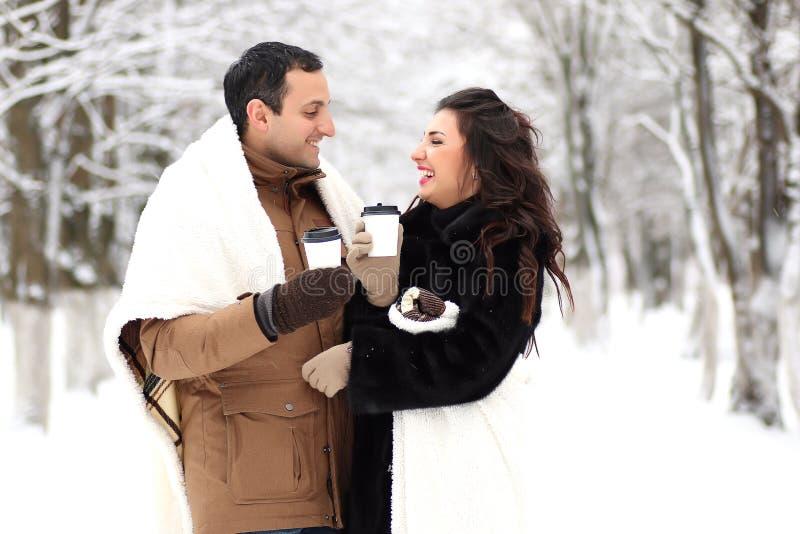 Ett ungt par går i en vinter parkerar arkivfoto