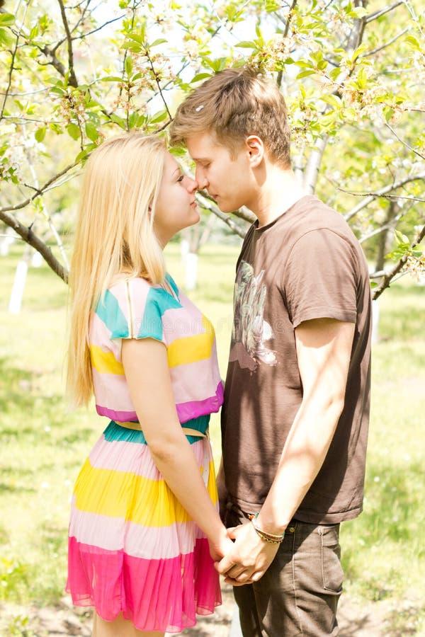 Ett ungt par som fabulerar på en picknick, daterar royaltyfri foto