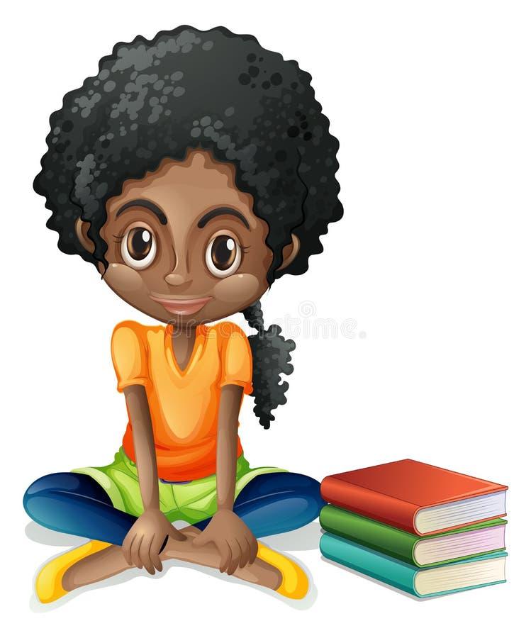 Ett ungt svart flickasammanträde bredvid henne böcker royaltyfri illustrationer