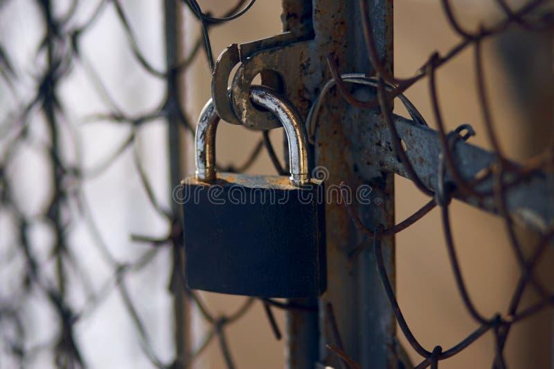 Ett utslitet lås som täcker en gammal rostig port med ett metallingrepp royaltyfri foto