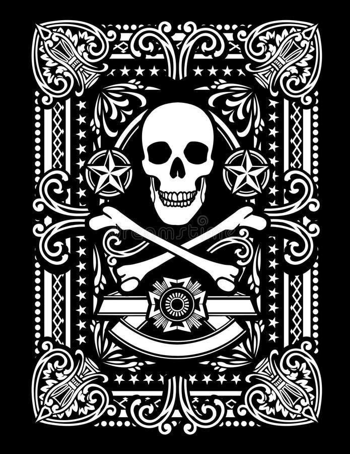Utsmyckat piratkopiera den leka kortdesignen stock illustrationer