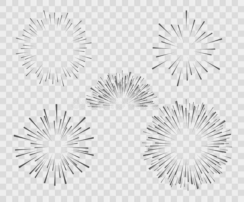 Ett val av konturn av explosionen, fyrverkerier av enkla linjer Vektorillustration på isolerad vit bakgrund royaltyfri illustrationer