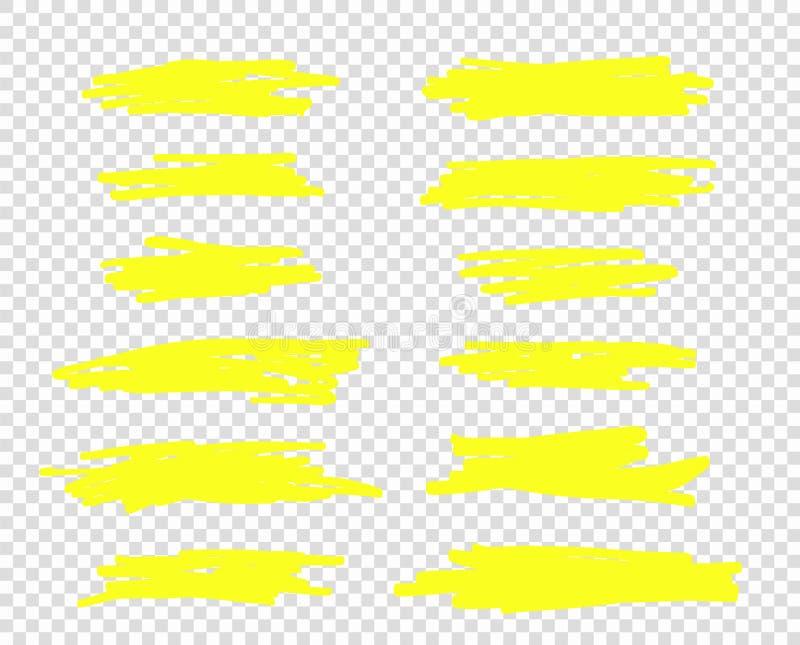 Ett val av linjen av slaglängdmarkörer Linjer för vektorviktigborste Handteckningen skissar underströk, band isolerat royaltyfri illustrationer