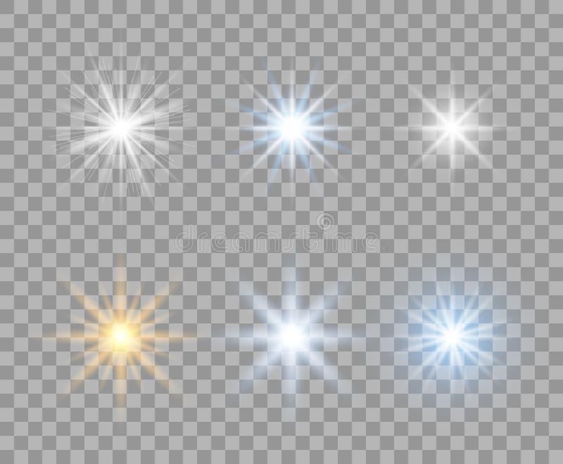 Ett val av ljusa genomskinliga stjärnor med radiella strålar Exponerar gult, blått, vitt Designbeståndsdelar på isolerad bakgrund vektor illustrationer
