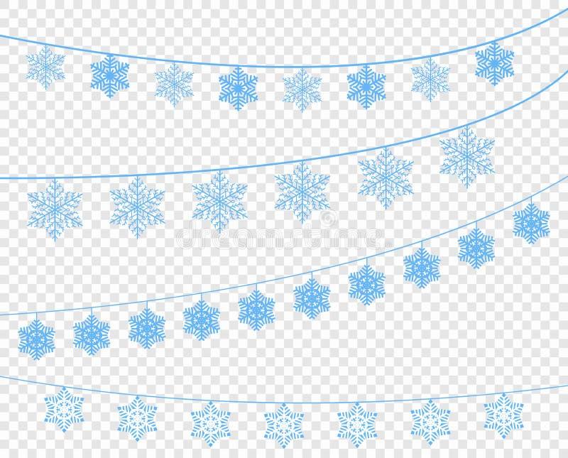 Ett val av snöflingor på ett band Dekorativ beståndsdel för rengöringsdukdesign, feriekort, för nytt år och jul vektor royaltyfri illustrationer