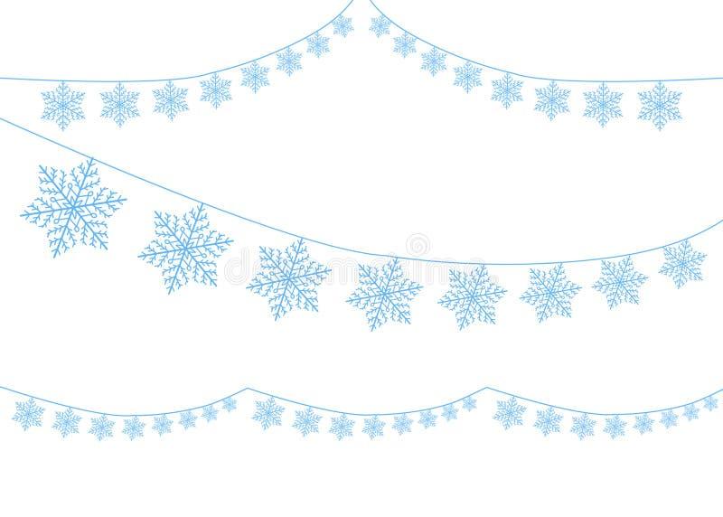 Ett val av snöflingor på ett band Dekorativ beståndsdel för rengöringsdukdesign, feriekort, för nytt år och jul vektor stock illustrationer