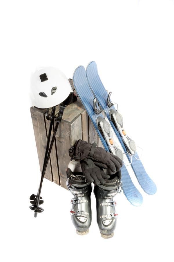 Ett val av vintersportutrustning royaltyfria foton