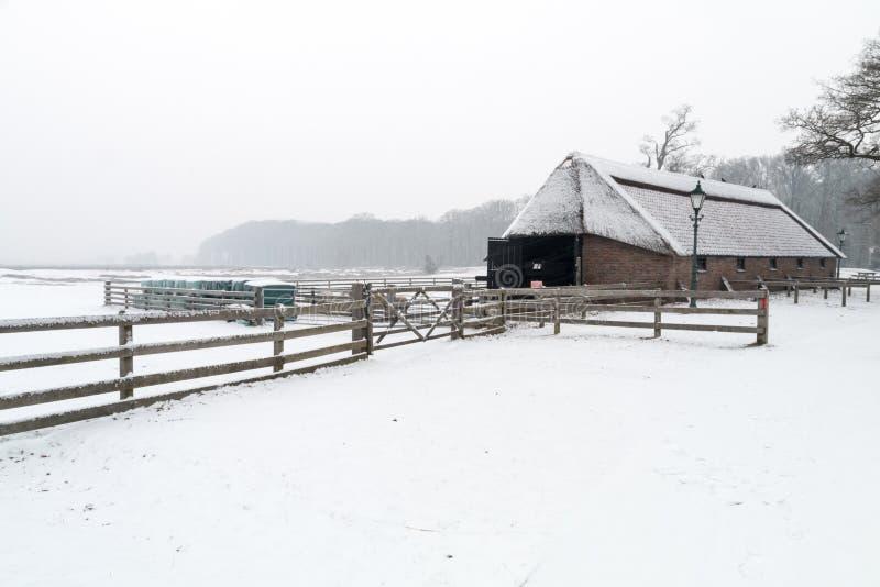 Ett vitt landskap med en byggnad royaltyfria bilder
