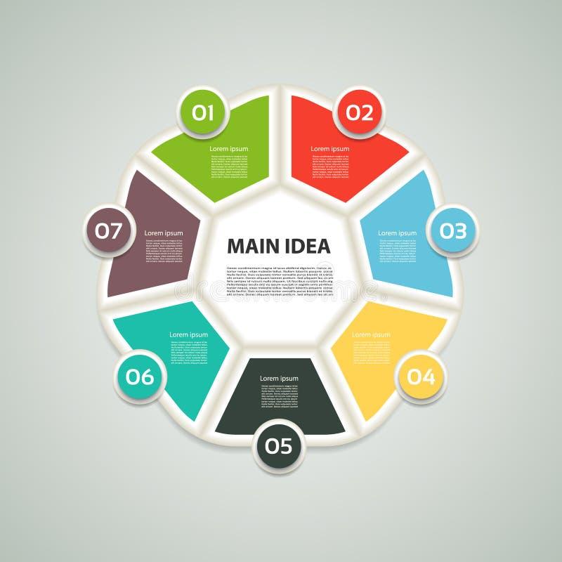 Ettagono infographic Grafico, diagramma con 7 punti, opzioni, parti, processi Elemento di disegno di vettore illustrazione di stock