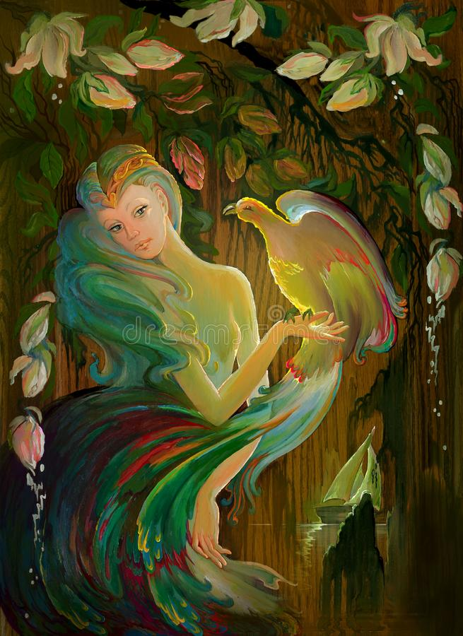 Etude del jardín de Eden Retrato de la muchacha hermosa en el ambiente del paisaje fantástico ilustración del vector