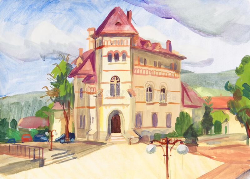 Etude painted with gouache. Romania, Piatra Neamt. Town square. Cucuteni Museum royalty free stock images