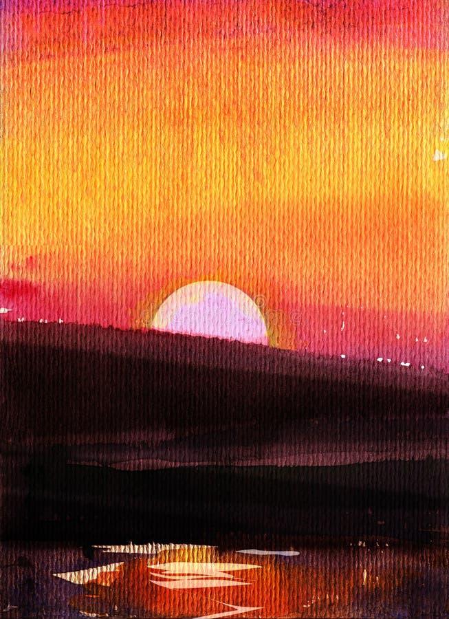 Etude Seascape Coucher de soleil Mer et montagnes Dessin d'aquarelle images stock