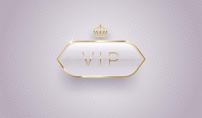 Etykieta szklana Vip ze złotą koroną i ramką na szarym tle. Doskonała konstrukcja. Luksusowy wzór szablonu ilustracji