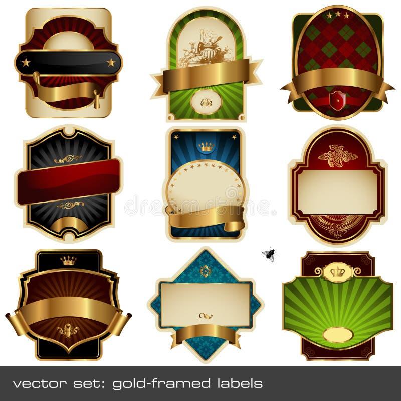 etykietek luksusowy setu wektor ilustracja wektor
