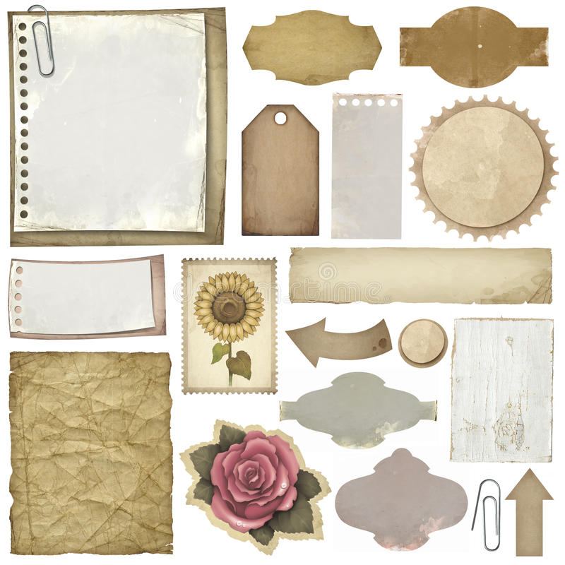 etykietek papierów rocznik royalty ilustracja