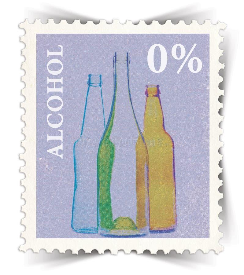 Etykietka dla bezalkoholowych napój reklam stylizować jako poczta znaczek royalty ilustracja