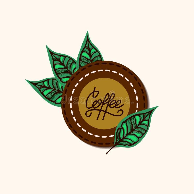 Etykietka dla kawy Kawa liście i literowanie kawa projekta pożarniczy notatnika szablonu pisać twój majcher ilustracja wektor