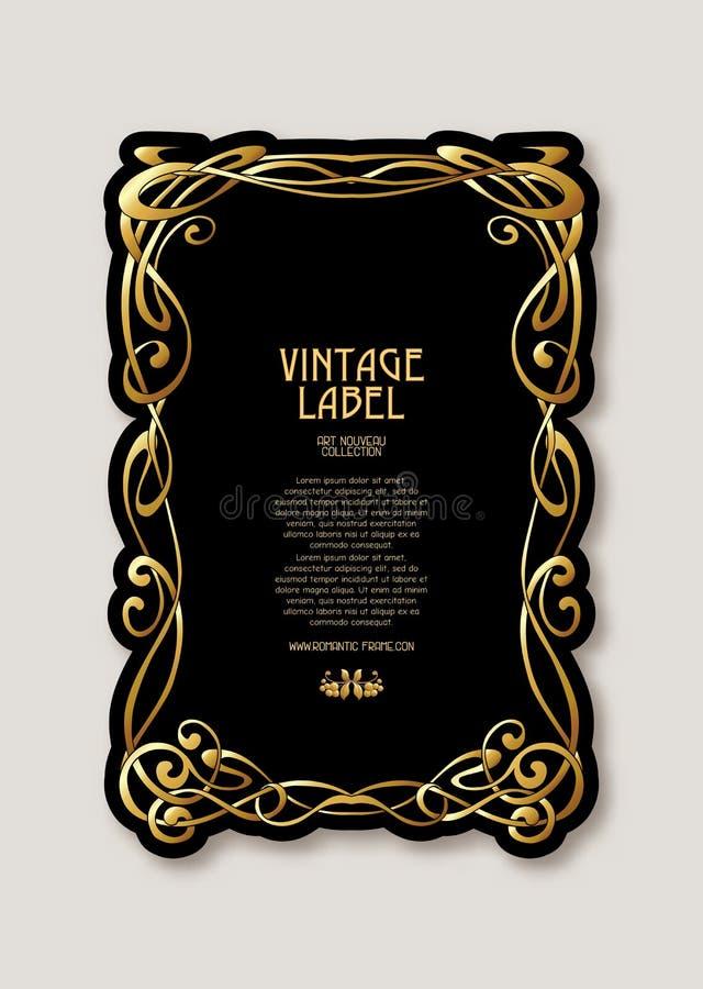 Etykietka dla produktów lub kosmetyków w sztuki nouveau stylu, rocznik, stary, retro styl, n ilustracji