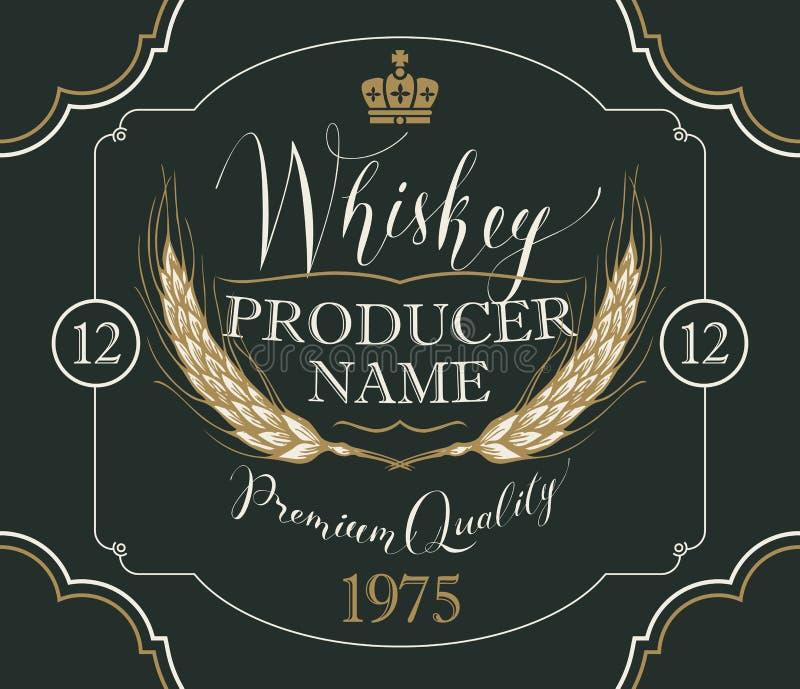 Etykietka dla whisky z ucho jęczmień ilustracji