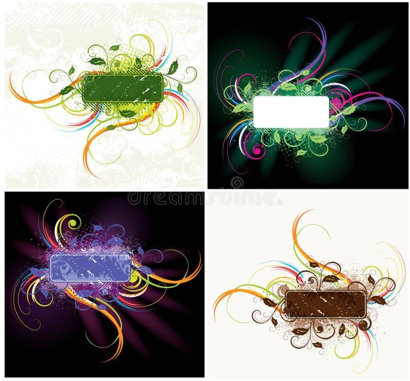 etykietka kolorowy kwiecisty set ilustracji