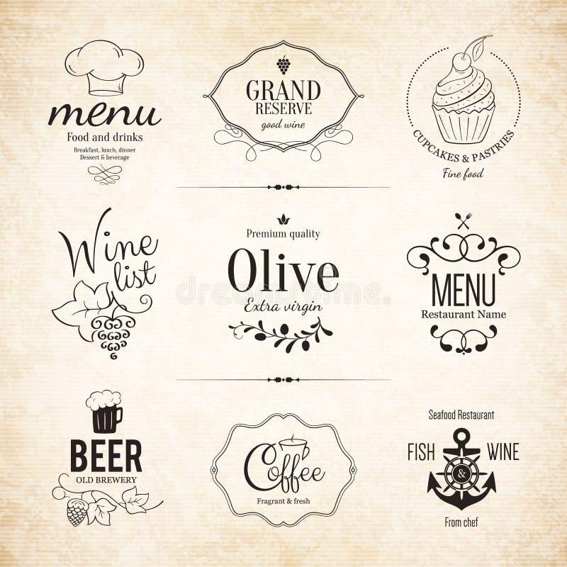Etykietka, logo ustawiający dla restauracyjnego menu projekta royalty ilustracja