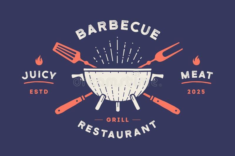Etykietka lub logo dla restauracji Logo z grillem, bbq lub grillem, royalty ilustracja