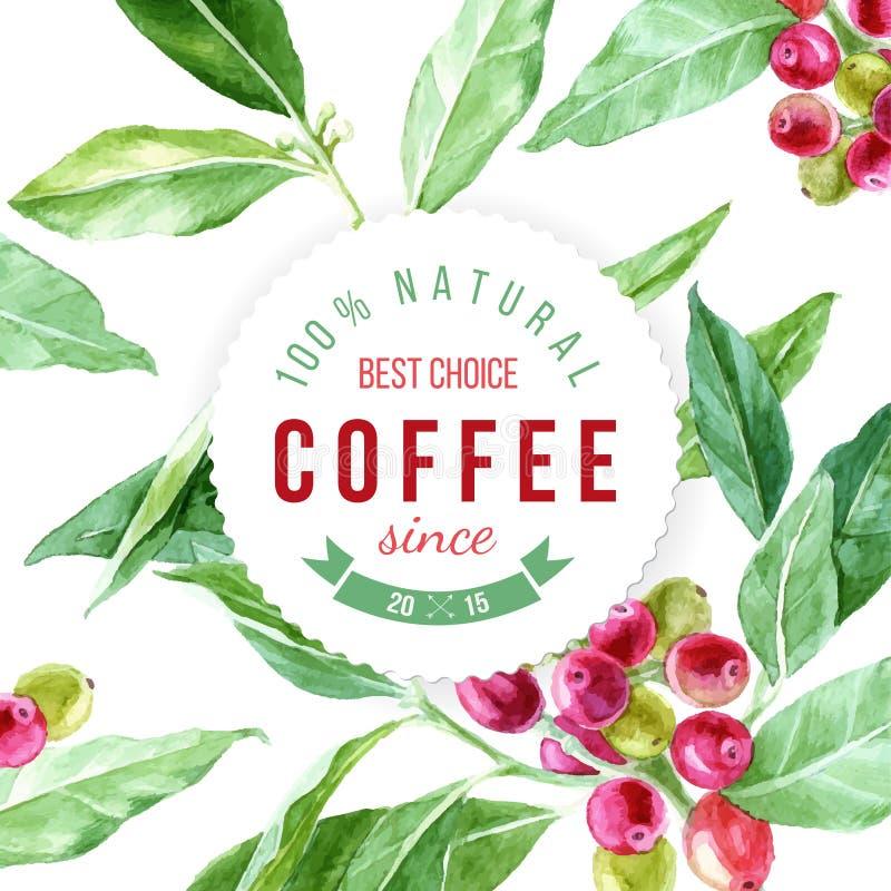 Etykietka na tle z akwareli kawową rośliną royalty ilustracja