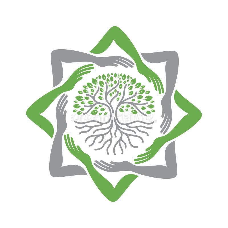 Etykietka oprócz drzewa z ręki ramą tworzy ośmioboczną gwiazdę royalty ilustracja