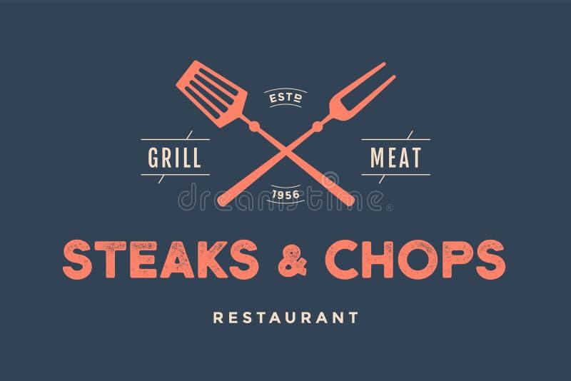 Etykietka restauracja z grillów symbolami royalty ilustracja