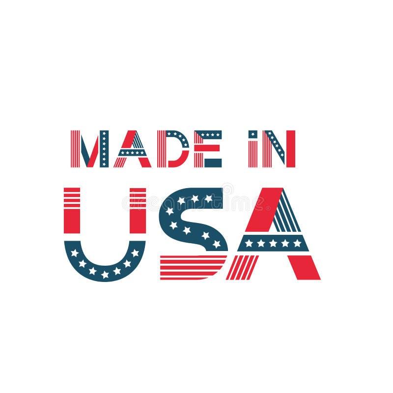Etykietka robić w usa Amerykańska odznaka z gwiazdami, lampasy w chorągwianych colours ilustracja wektor