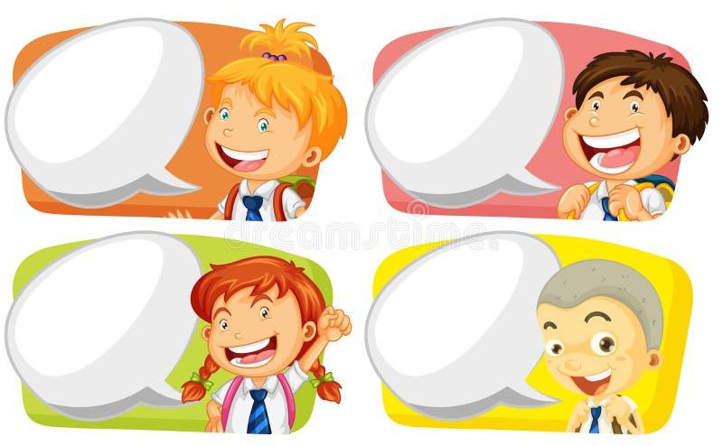 Etykietka szablon z studenckimi chłopiec i dziewczynami royalty ilustracja