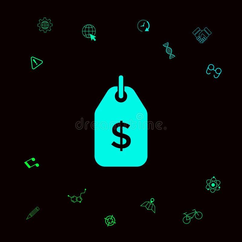 Etykietka z dolarowym symbolem Metki ikona dla ściągania Graficzni elementy dla twój designt royalty ilustracja