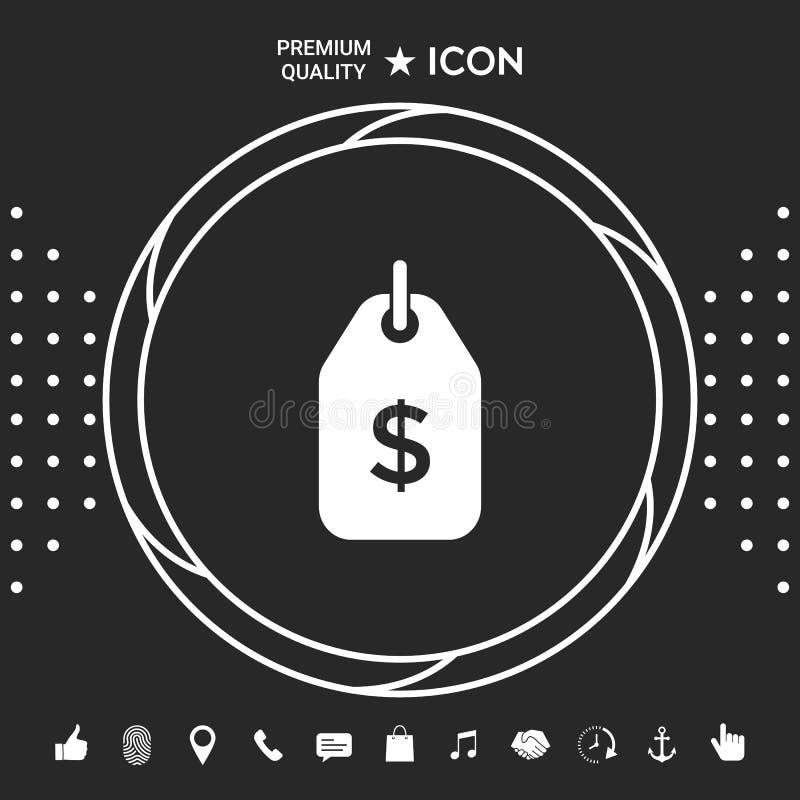 Etykietka z dolarowym symbolem Metki ikona dla ściągania Graficzni elementy dla twój designt ilustracji