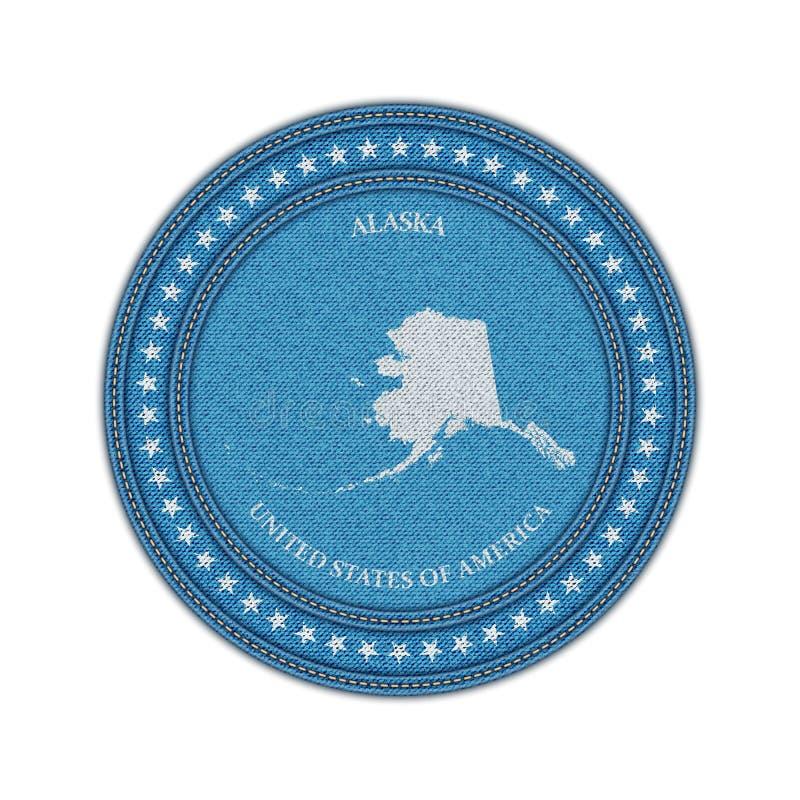 Etykietka z mapą Alaska Drelichu styl royalty ilustracja