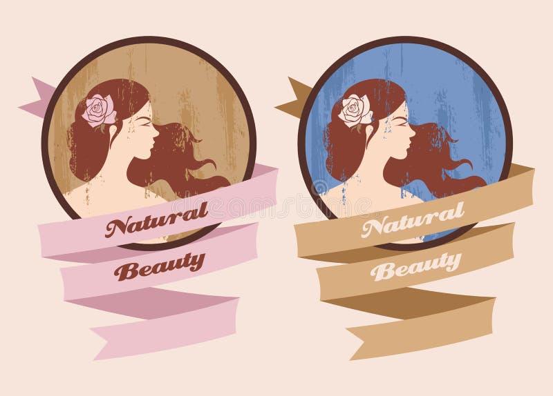 Etykietka z piękną dziewczyną royalty ilustracja