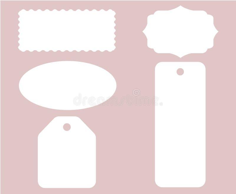 Etykietki etykietki ściegu Ustalony Biały wektor Odizolowywający ilustracji