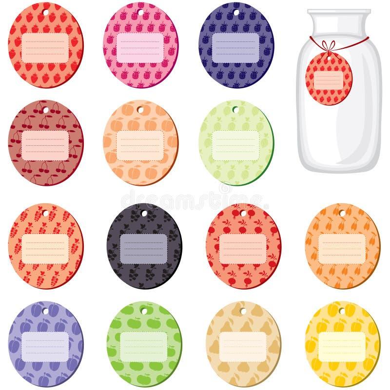 Etykietki dla dżemu od owoc i jagod ilustracji