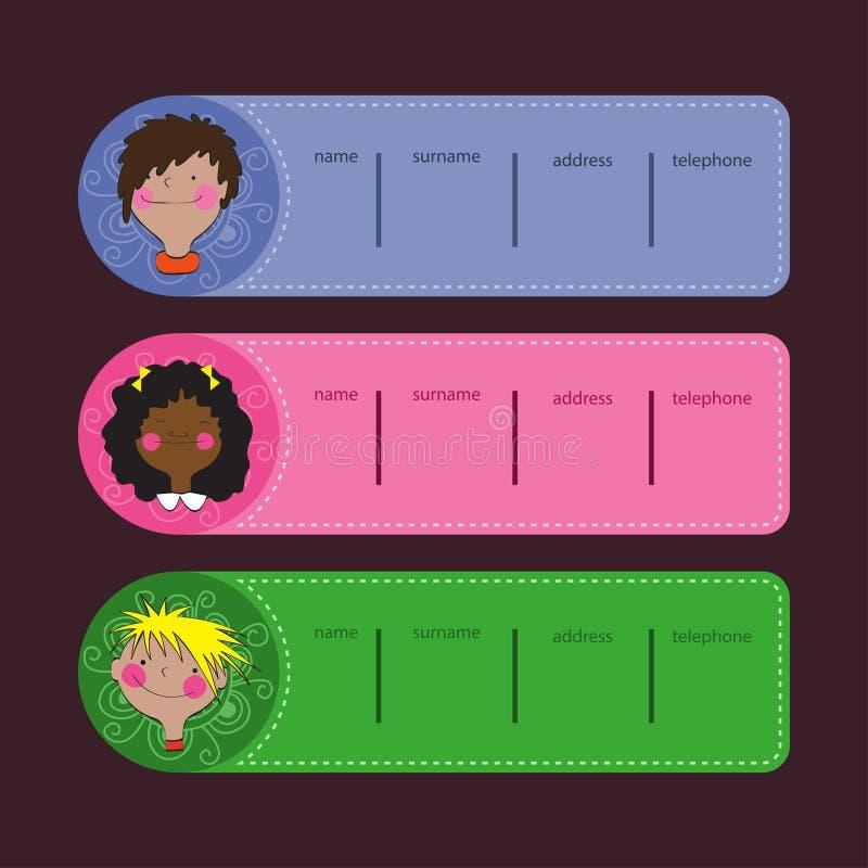 Etykietki dla dzieci ilustracji