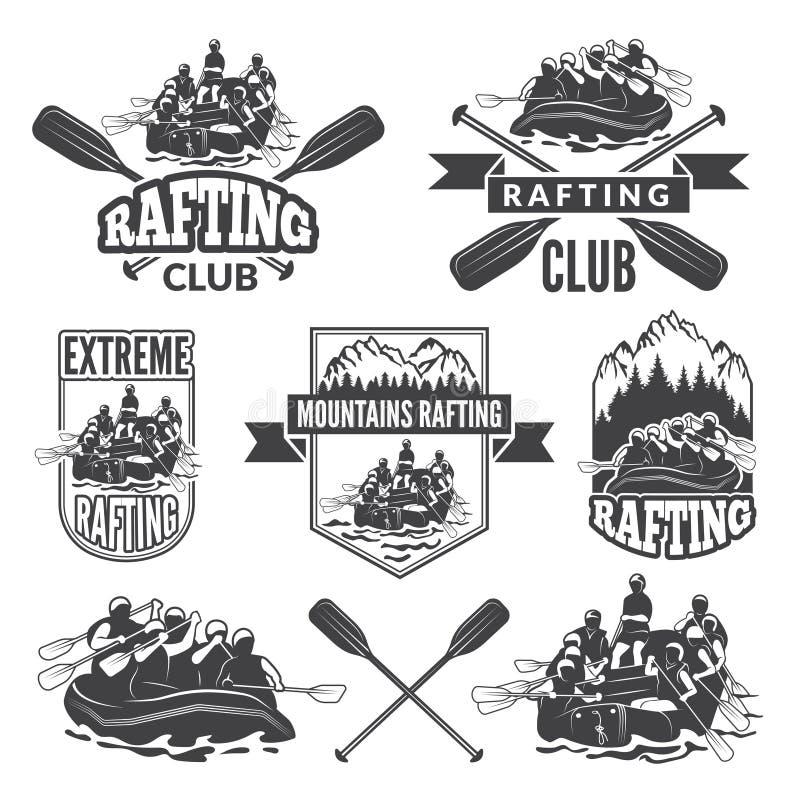 Etykietki dla sporta klubu krańcowy niebezpieczny wodny sport Wektorowi obrazki flisactwo ilustracja wektor