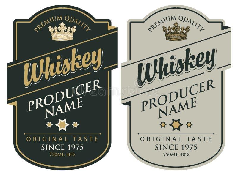 Etykietki dla whisky z inskrypcją i koroną ilustracja wektor
