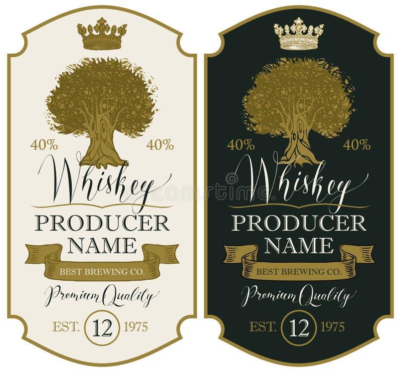 Etykietki dla whisky z koroną i Dębowym drzewem royalty ilustracja