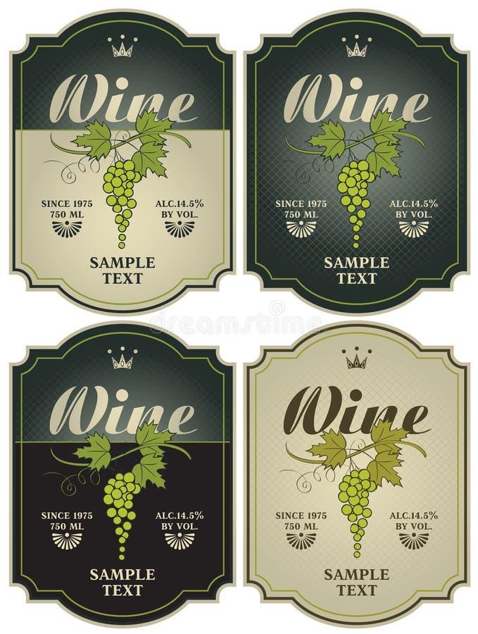 Etykietki dla wina ilustracji