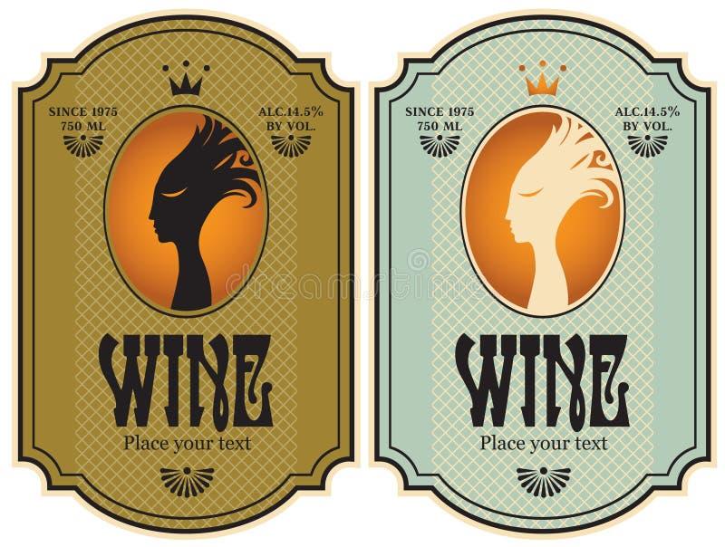 Etykietki dla wina ilustracja wektor