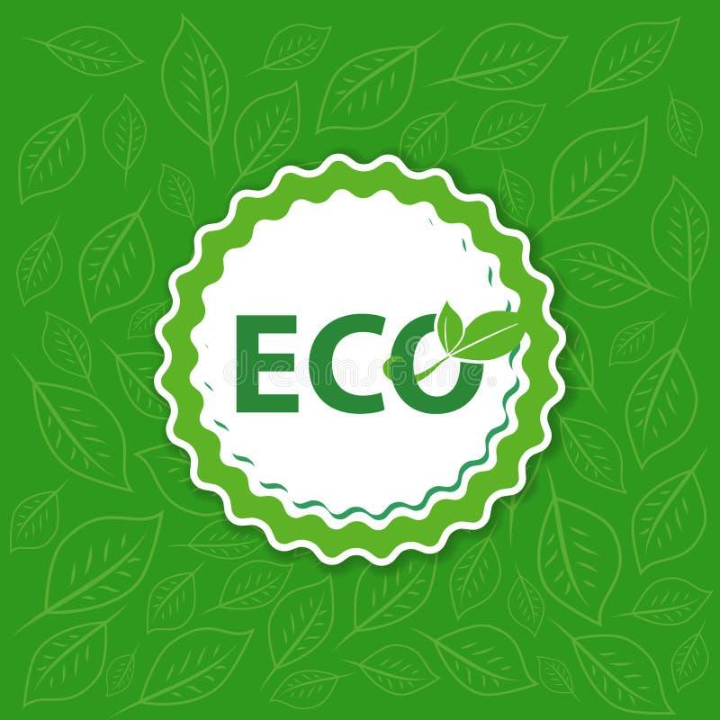 Etykietki eco w zielonym tle Majcher z liściem na brygu ilustracja wektor