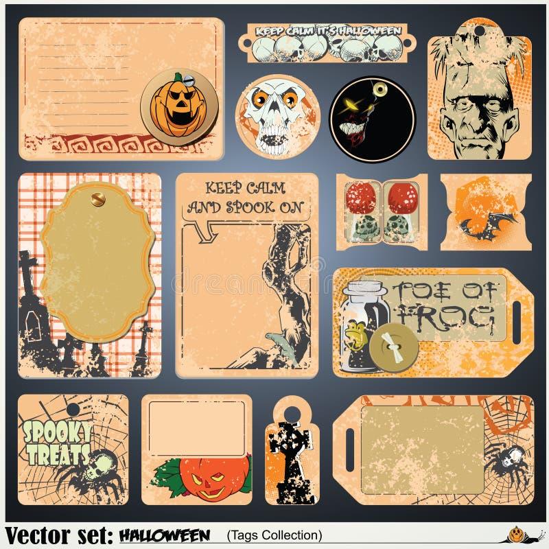 Etykietki, etykietka i majcher na temacie Halloween, royalty ilustracja