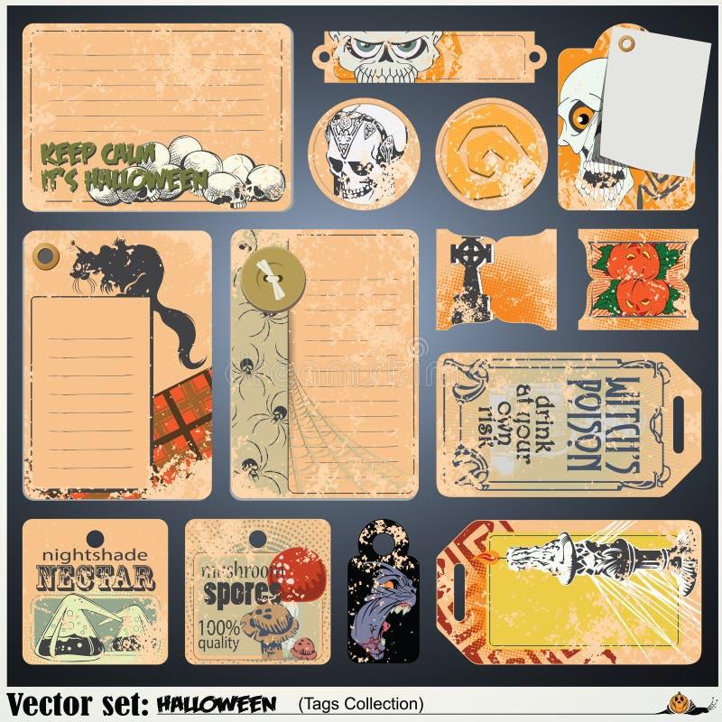 Etykietki, etykietka i majcher na temacie Halloween, ilustracji